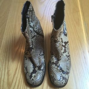 Anne Klein Python Leather Ankle Boots